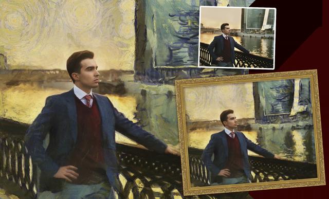 стилизация под живопись, портрет по фото